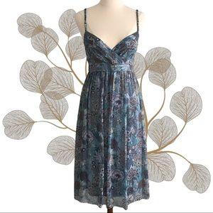 SABA Floral 100% Silk Strappy Midi Dress